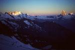 Breithorn 4164 m und Matterhorn 4478 m  im ersten Morgenlicht