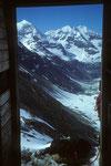 Blick aus der Hüttentür ins Valpelline.