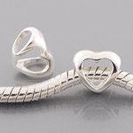 """""""Herz"""" - 925er Silber Herz-Perle, mit Stempel, 8 x 9 mm, Loch 4,5 mm"""