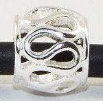 """Wellen"", Perle mit Stempel 925er Silber, 7 mm x 8 mm, Loch 4,5 mm"