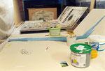 ... kann´s mit der Malerei losgehen. Meine damalige Werkstatt war leider zu niedrig, ...