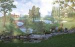 ... ganz klassisch an einer Gerüsthalle, die an einem privaten Garten angrenzt oder ...
