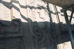 """Das ist das """"Herzstück"""" dieser Fassade: Ein Hermes mit der Jahreszahl."""