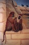 ... jedes Detail aus dem Entwurf umgesetzt. Die lausenden Affen sind eine Allegorie auf Pflege und Hygiene und sozialen Kontakte in einem Kosmitikstudio.
