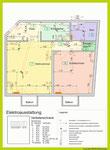 Lageplan elektrischer Einrichtungen mit Nummerierung