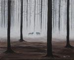 """""""Begegnung im Nebelwald"""" - Acryl auf LW - 50 x 40 cm"""