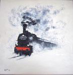 """Rennsteigbahn"" -  40 x 40 cm -  Acryl auf Leinwand - verkauft"