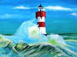 """""""Leuchtturm Roter Sand"""" -    Acryl auf Leinwand  -  verkauft                                        Acryl auf Leinwand"""