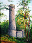"""Ida-Turm im Harrl - Bückeburg"" -  30 x 40 cm  - mit Rahmen - Acryl auf Pappe"