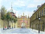 """Schlosstor mit Rathaus"" - Aquarell 30 x 40 cm"