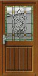HPH-5     Rechteckige Haustürenscheibe mit Facette und grünem Fries