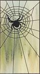 Fensterscheibe mit Spinne + Netz