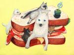 ワンコインサンド 地涌作品。大好きなサンドイッチとオオカミをコラボさせていただきました。F6サイズ