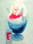 シロクマかき氷 熱い夏のひと時の夢というイメージで描かせていただきました。F6サイズ