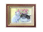 依頼肖像画 猫 花に囲まれた愛猫2匹が一緒にいるところを見たいということで、描かせていただきました。F8サイズ