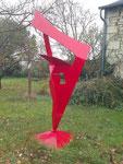 Flamme rouge inox peint 2 m