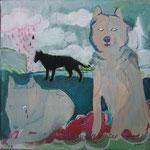 *wölfe*, acryl und stickerei auf leinwand, ca. 25x25 cm, 2008