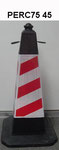 75cm PE Traffic cone with rubber base, Red/White coved style  reflective band