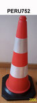 75cm PE Traffic cone with rubber base, two reflective band