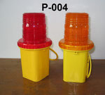 Barricade Lamp No.P004, single battery type, Yellow lens Flashing