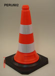 50cm PE Traffic cone with rubber base, two reflective band