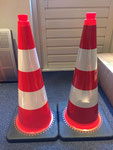 """PVCAL28R2 Interlock PVC Cone 28"""" covered with two Hign Intensity Prismatic tape and Hign Intensity reflective tape"""