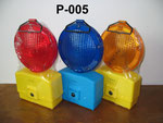 Barricade Lamp No.P005, double battery type, Yellow lens Flashing, Red lens Fixing, or OEM accepted.