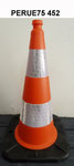 75cm Orange PE Traffic cone with rubber base, two reflective band, UK style