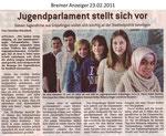 "Jugendparlament stellt sich vor ""Bremer Anzeiger 23.02.2011"""