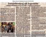 """Energieberatung auf Augenhöhe """"Weser Kurier 14.05.2012"""""""
