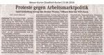 """Proteste Gegen Arbeitsmarktpolitik"" Weser Kurier 13.04.2014"