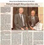 """Polizei dampft Bürgerservice ein """"Weser Kurier 25.06.2012"""""""