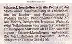 """""""Schmuck herstellen wie die Profis"""" Weser Kurier 15.10.2013"""