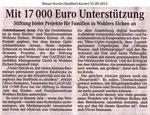 """""""Mit 17 000 Euro Unterstützung"""" Weser Kurier 15.09.2013"""