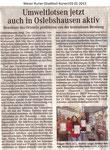 """Umweltlotsen jetzt auch in Oslebshausen aktiv """"Weser Kurier 03.01.2013"""""""