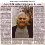 """Ortspolitik verliert engagierte Stimme"" Weser Kurier 12.01.2014"