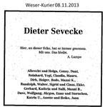 """""""Traueranzeige Dieter Sevecke"""" Weser Kurier 08.11.2013"""
