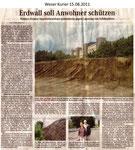 """Erdwall soll Anwohner schützen """"Weser Kurier 15.08.2011"""""""