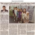 """Von wegen Luftschlösser - es gibt sogar Geld """"Weser Kurier 24.02.2011"""""""