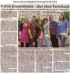 """""""Politik kennenlernen - aber ohne Parteibuch"""" Weser Kurier 01.08.2013"""