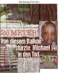 """Von diesem Balkon stürzte Michael in den Tod """"Bild-Zeitung 27.07.2012"""""""