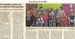 """Das Spielhaus wird zum erweitertem Wohnzimmer """"Weser Report 19.11.2008"""""""