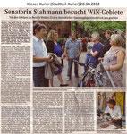 """Senatorin Stahmann besucht WiN-Gebiete """"Weser Kurier 20.08.2012"""""""