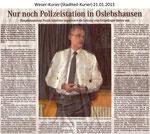 """Nur noch Polizeistation in Oslebshausen """"Weser Kurier 21.01.2013"""""""
