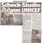 """Schock-Studie von UNICEF """"Bild Zeitung 15.02.2007"""""""