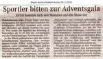 """Sportler bitten zur Adventsgala """"Weser Kurier 29.11.2012"""""""
