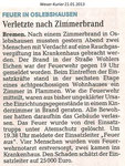 "Feuer in Oslebshausen ""Weser Kurier 21.01.2013"""