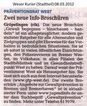 "Zwei neue Info-Broschüren ""Weser Kurier 08.03.2012"""