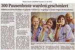 """300 Pausenbrote wurden geschmiert """"Weser Kurier 21.10.2012"""""""