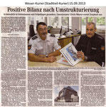 """""""Positive Bilanz nach Umstrukturierung"""" Weser Kurier 15.09.2013"""